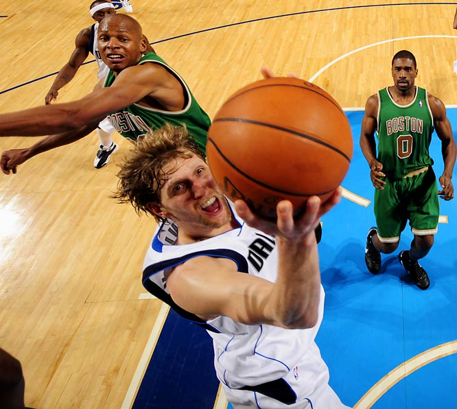 The 2007 MVP's quick comeback from an ankle sprain helped push the Mavs into the playoffs. After a slow start offensively, he has shot better than 51 percent from the field since the All-Star break.