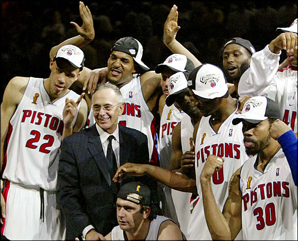 Declaring yet again that ''this will be my last stop,'' Brown took over the Pistons in 2003-04. He led them to the NBA title that season, becoming the first coach to win championships in the NBA and NCAA. Detroit reached the Finals the following season, but the Pistons grew tired of reports that Brown was negotiating for another job. The Pistons bought out Brown's contract after the Pistons' Finals loss to San Antonio.