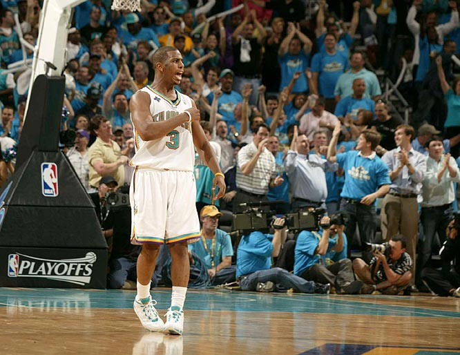New Orleans guard Chris Paul shows some emotion to his home crowd.