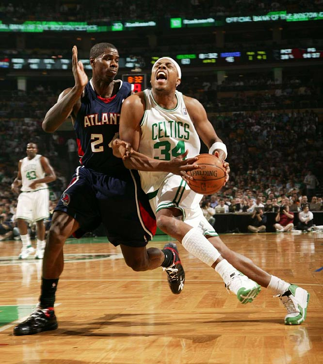 Celtics forward Paul Pierce drives against the Hawks' Marvin Williams during Game 2.  Pierce scored 14 points in the winning effort for Boston.