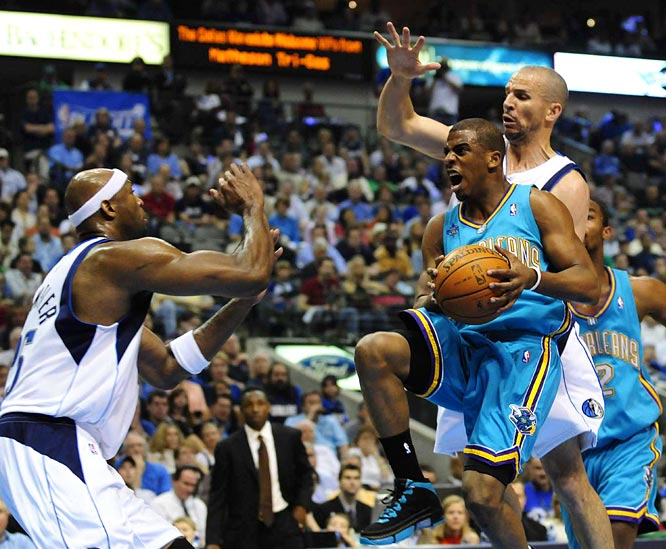 Hornets point guard Chris Paul drives against Jason Kidd (right) during Game 3. Paul, who became the first player to record at least 30 points and 10 assists in each of his first two career playoff games, finished with 16 points on 4-of-18 shooting. He also added 10 assists.