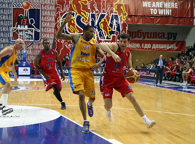 "Thodorís Papaloukás, a native of Greece, has played for CSKA since 2002. The versatile ""point forward"" is best-known among American basketball fans for his standout performance in Greece's upset of the United States in the semifinals of the 2006 FIBA World Championships. Papaloukás carved up the American defense with a game-high 12 assists, adding eight points in a 101-95 stunner."