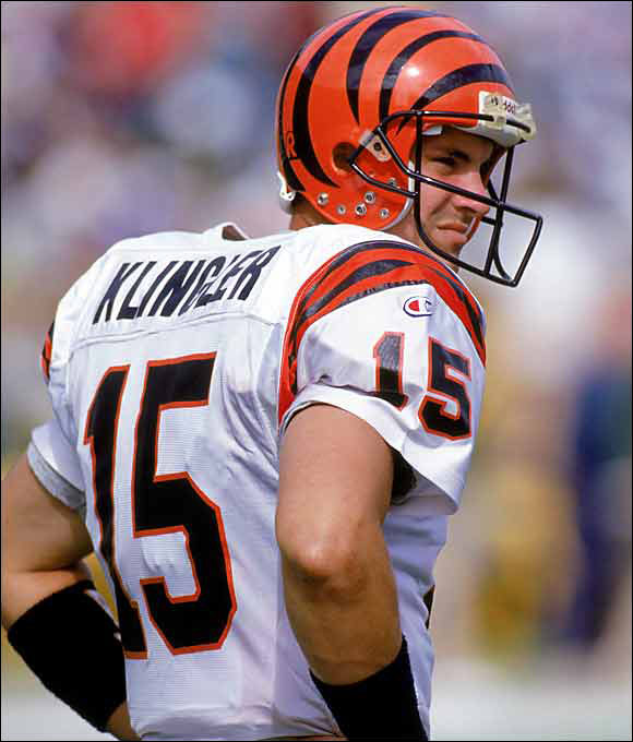 At the University of Houston, Klingler threw 54 TDs in a season and six TDs in a quarter. He threw 16 TDs in four whole seasons with the Bengals -- compared with 21 interceptions. Klingler replaced the very popular Boomer Esiason, and after getting sacked 10 times by the Steelers in his first start, he spent most of his Cincy career on the turf.