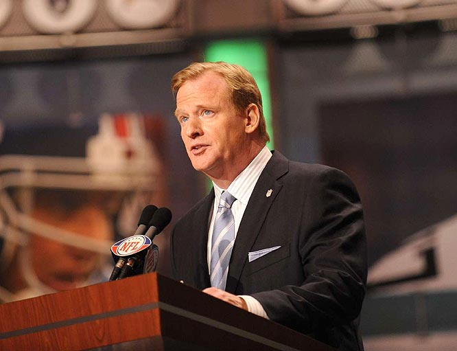 NFL commissioner Roger Goodell presided over his second draft, in which the first day was shortened from three rounds to two and the time between first-round picks went from 15 minutes to 10.