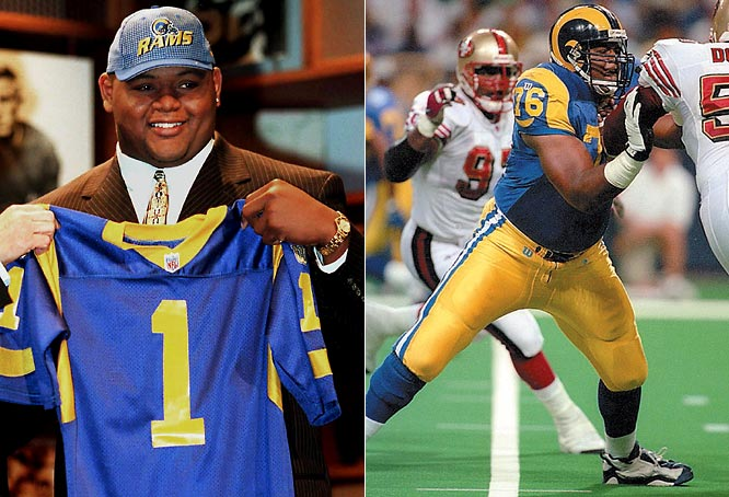After not allowing a quarterback sack during his final two years at Ohio State, the brawny left tackle became the first offensive lineman in 29 years to go first overall in the draft. Pace has made seven Pro Bowls (and counting) and helped the Rams to the franchise's first-ever Super Bowl victory while blocking for Kurt Warner during the `99 season.
