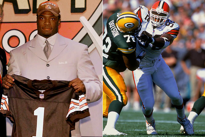 A rare combination of speed, strength and athleticism, Brown went first overall in the '00 draft to the Cleveland Browns. But after totaling 70 tackles and 4.5 sacks during a promising rookie campaign, injuries took a toll with Brown playing just 26 games from 2002 through 2004 (and amassing a modest eight sacks). After a minor resurgence in Denver during the 2005 regular season and playoffs, a torn ACL in his left knee during 2006 preseason effectively ended his pro career.