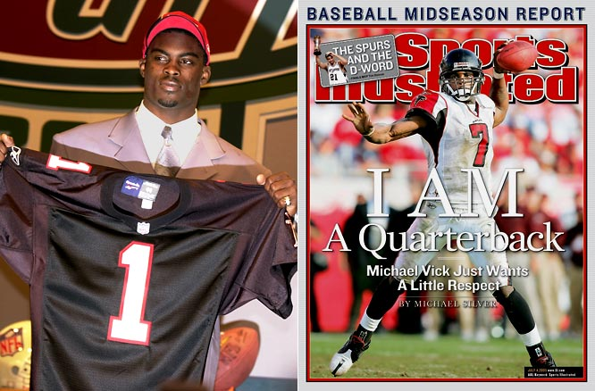 Atlanta selected Vick with the first overall pack following an electric collegiate career at Virginia Tech. The multi-talented quarterback made three Pro Bowls and led the Falcons to the NFC Championship Game in 2004 while finishing second in the MVP voting. But a 2007 indictment on federal dog fighting charges led to a 23-month prison sentence, which Vick is currently serving at the U.S. Penitentiary in Leavenworth, Kansas.