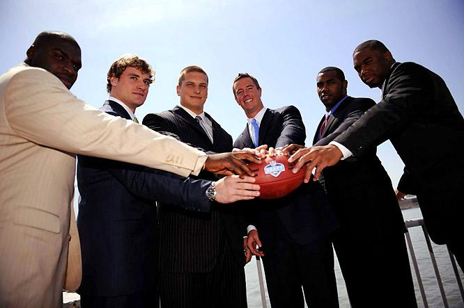 (Left to right) Glenn Dorsey, Chris Long, Jake Long, Matt Ryan, Darren McFadden and Vernon Gholston before the NFL Draft Media Luncheon at Chelsea Piers.