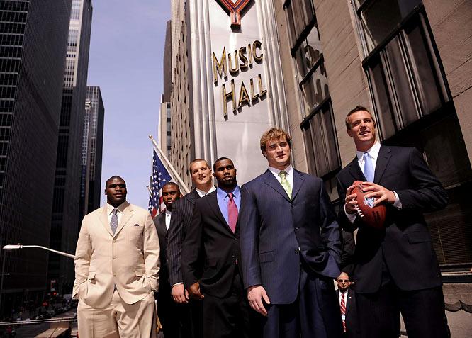(Left to right) Glenn Dorsey, Vernon Gholston, Jake Long, Darren McFadden, Chris Long and Matt Ryan stand on the marquee of Radio City Music Hall.