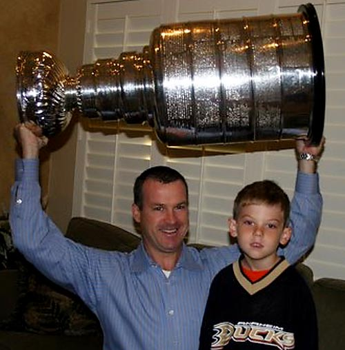 """""""It was a huge thrill for this Canadian boy to see the win, touch the cup, share it with my oldest son and feel the excitement it brought to Southern California. Special thanks to a neighbor who worked for the Ducks and allowed me to get up close and personal to it.""""-- Peter A. Macdonald"""