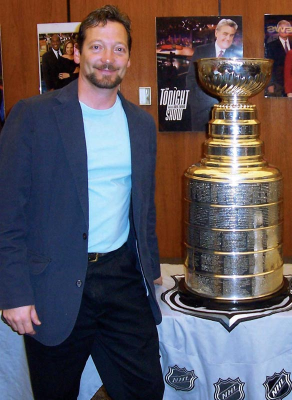 """""""I got a call from a friend that the cup was at a local TV station in Buffalo. I zipped out of work and was lucky enough that someone there had a camera. I only hope this isn't the only time someone associated with Buffalo will get to touch the grail!"""" -- John Bonitati"""