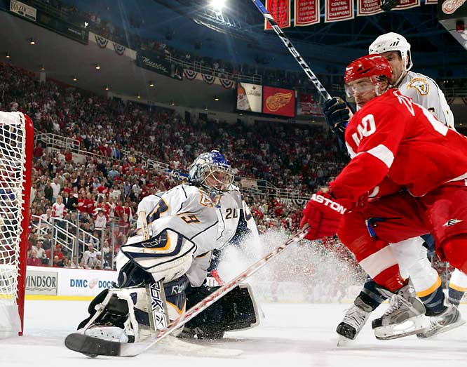 The Predators got strong goaltending out of Dan Ellis, who faced an average of 40 shots per game by the Red Wings.  Despite a .938 save percentage from Ellis in the series, Nashville fell 4-2 in the best-of-seven series.