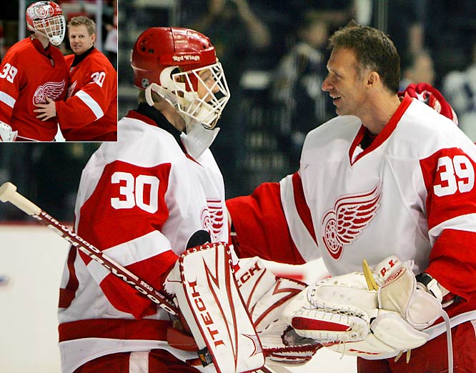 Red Wings coach Mike Babcock named Dominik Hasek (39) the team's starting goalie going into the playoffs, but after Hasek allowed three goals on 14 shots in Game 4, Chris Osgood (30) took the reigns, going 2-0 with a 0.39 goals-against average.