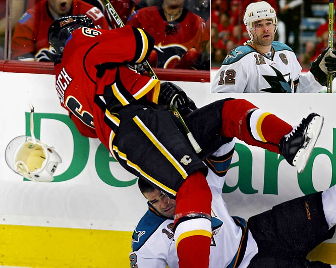 With the Sharks up 3-0 in the first period of Game 3, Flames defenseman Cory Sarich slammed Patrick Marleau hard into the boards, and Calgary then rallied to win the game 4-3 and take a 2-1 series lead. The Sharks and Marleau rebounded from the hit and the loss to take three of the next four games and win the series.