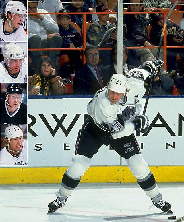 The arrival of Wayne Gretzky in Los Angeles was a time of excitement and hope. The Great One's supporting casts included (inset top to bottom) Luc Robitaille, Dave Taylor, Jari Kurri, Marty McSorley, Tomas Sandstrom, Paul Coffey, Tony Granato, and Kelly Hrudey. A 102-point season in 1990-91 was ended by Gretzky's former team in the division finals and the Kings' high-water mark was their five-game loss to Montreal in the 1993 Cup final. Three years later, Gretzky left for St. Louis, and ultimately, New York.