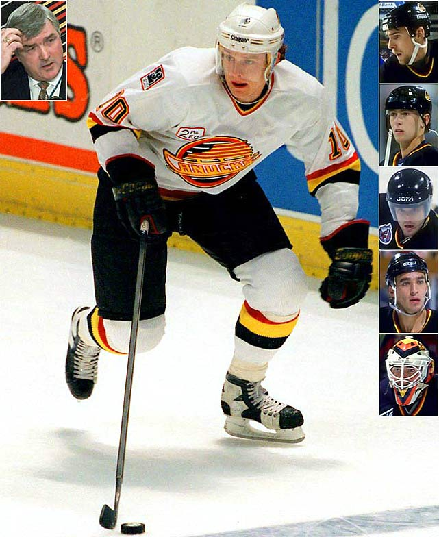 The presence of the electrifying Russian Rocket -- Pavel Bure -- made coach Pat Quinn's (inset left) Canucks a team to be reckoned with.  With a supporting cast that included (inset top-right to bottom) Trevor Linden, Petr Nedved, Cliff Ronning, Geoff Courtnall and goaltender Kirk McLean, they were routinely a Smythe Division power and reached the 1994 Cup final where they lost to the Mark Messier-Brian Leetch-Mike Richter Rangers in seven gritty games.