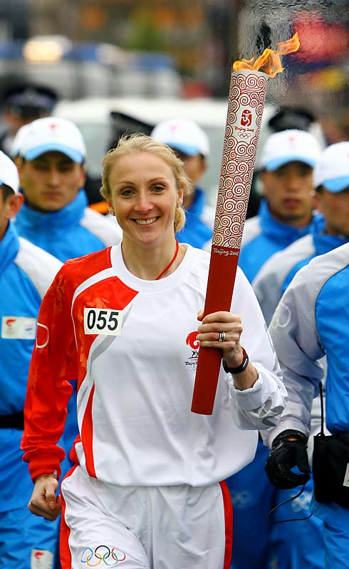 Marathon world-record holder Paula Radcliffe was also among the many that carried the torch through the streets of London.
