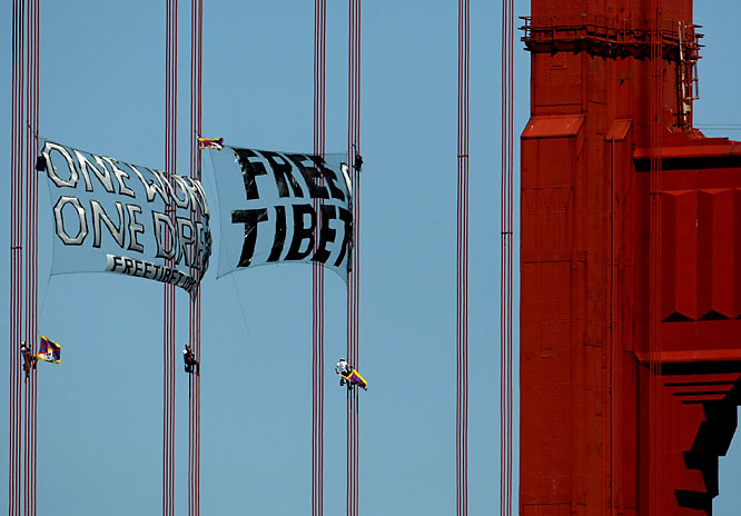 From protestors climbing the cables of the Golden Gate Bridge to hang their ''Free Tibet!'' banners, to the torch disappearing and the relay being rerouted, the Bay Area's Olympic scene was not the warm welcome the IOC was hoping for.