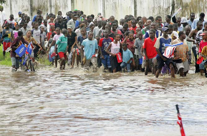 In what was the most peaceful leg of the torch relay thus far, Tanzania and its Olympic supporters trudged through flooded roads just to catch a glimpse of the flame.