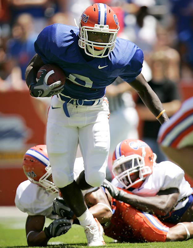 A crowd of 60,000 turned out for Florida's annual spring game, in which Heisman Trophy winner Tim Tebow threw for 200 yards and two touchdowns and Chris Rainey (pictured) scored twice.