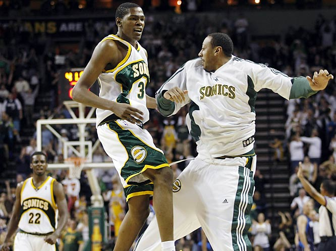 In what may have been the SuperSonics last game in Seattle, a near sellout crowd saw rookie Kevin Durant score twice in the last 45 seconds of a 99-95 victory over Dallas. The Sonics may be relocated to Oklahoma City next season.
