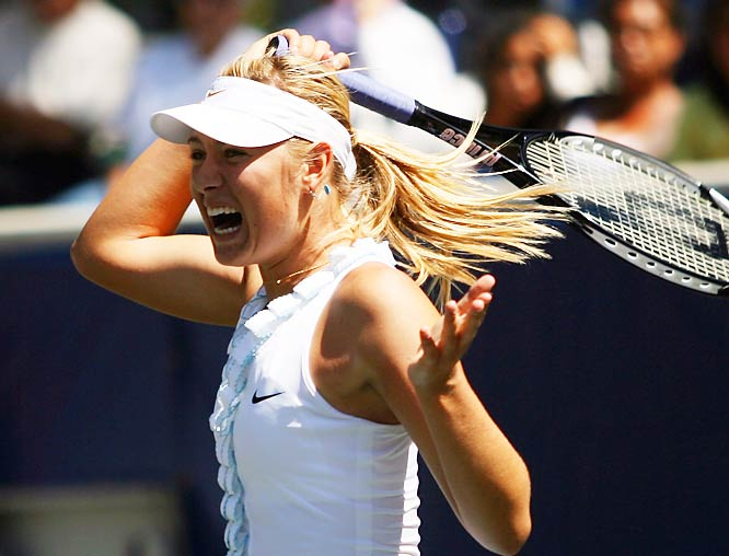 Maria Sharapova defeated Dominika Cibulkova on Sunday to run her record to 22-1 this year and become the first player on the WTA tour to win three times in 2008.