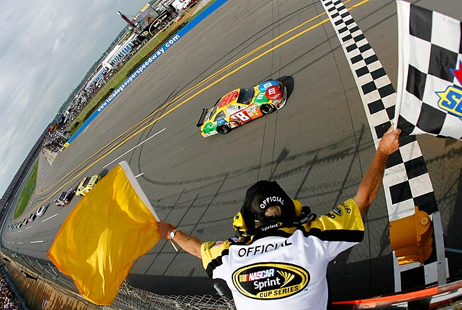 After Kyle Busch fell back a lap mid-race, he battled back for his first win at Talladega, giving Joe Gibbs Racing its third victory in the last nine races.