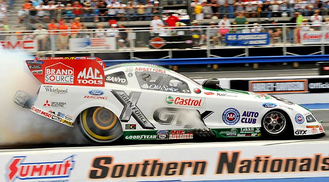 Ashley Force became the first female to win a national Funny Car event and did so by beating her father, the legendary John Force.