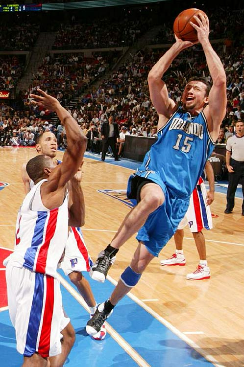 With Dwight Howard slowed by an injured left thumb, Hedo Turkoglu (15) tried to pick up the slack by scoring 18 points in Orlando's Game 1 loss to Detroit.