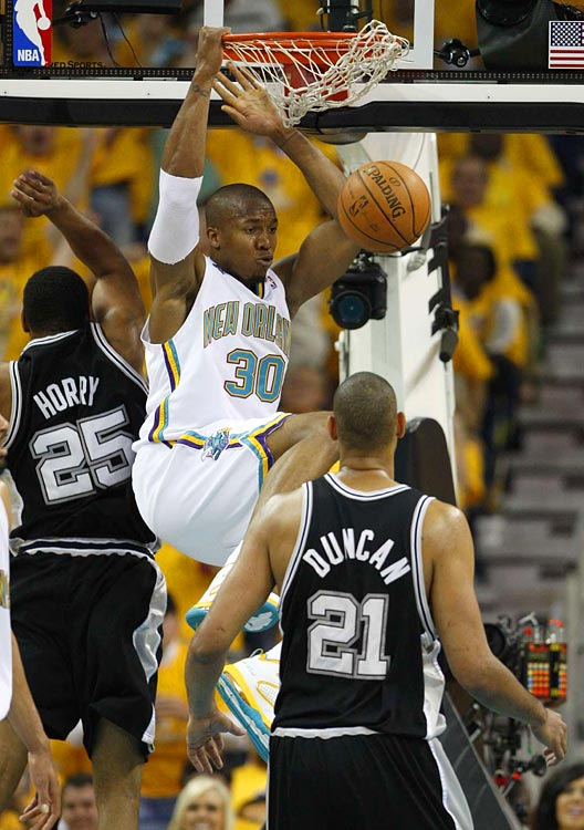 David West throws down two of his career playoff-high 30 points during a 101-82 win by New Orleans on Saturday