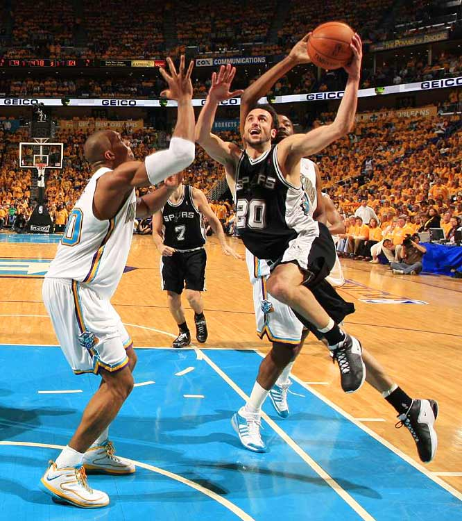 Manu Ginobili helped the Spurs take a 49-43 lead at intermission, but they were outscored 56-33 in the second half of Game 1.