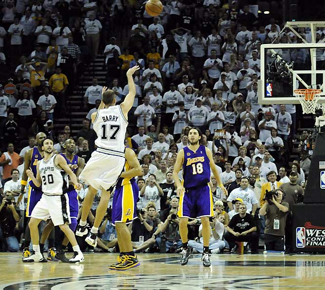 Was Brent Barry fouled by the Derek Fisher on his last-second, 3-point attempt against the Lakers? The referees didn't call it, but the NBA later issued a statement saying a two-shot foul should have been called, which would have given the Spurs a chance to tie the game and send it into overtime. Here are some other famous no-calls.  Which no-call would you add to the gallery?