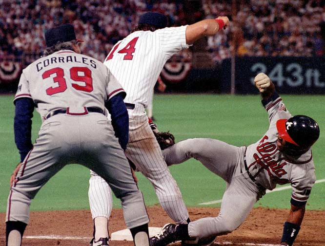 Braves slugger Ron Gant singled and rounded first base, then hurried back to the bag as Twins pitcher Kevin Tapani threw to first baseman Kent Hrbek. That's when the fun started: While applying the tag, Hrbek lifted Gant off the base. Umpire Drew Coble called Gant out and the Braves lost by a run.