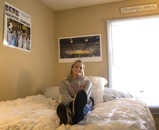 Ireland plays for the Hoosiers, yet her walls proudly display Tar Heel accomplishments. When asked where her loyalty resides, the Chapel Hill native admits to being a bit torn. Her family raves of Tyler Hansbrough and courtside season tickets, yet she suits up for the cream and crimson. What a dilemma.