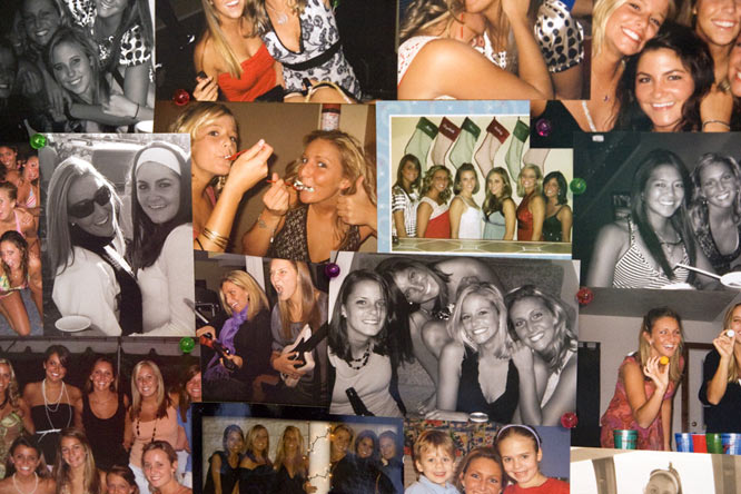 This collage rests next to Schmidt's desk. Whether it's a night out on the town, a <i>Guitar Hero</i> battle or playing some version of pong, the girls are always keep their cameras by their side.