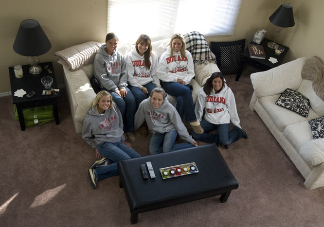 This aerial shot captures the six Hoosiers in their living room. If the girls aren't watching <i>Grey's Anatomy</i> or <i>America's Next Top Model</i>, you can typically find them playing Nintendo 64.