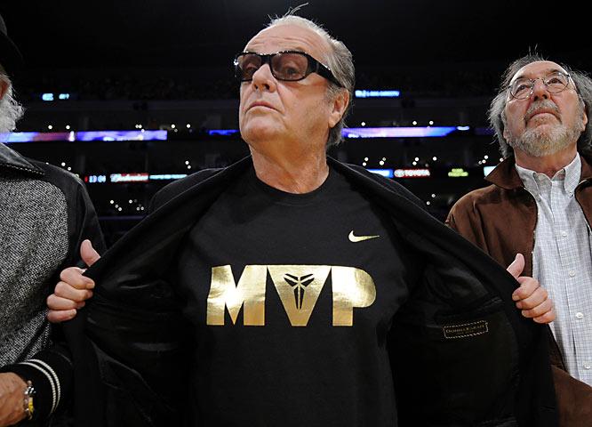 No. 1 Lakers fan Jack Nicholson seems happy that the MVP award went to Kobe Bryant...