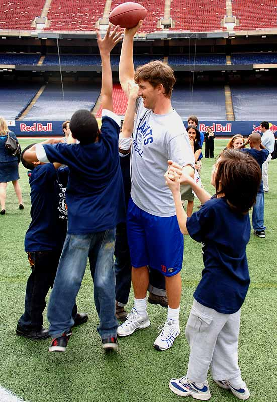 Now that he's a Super Bowl champion, Eli Manning thinks he can get away with taunting little kids.