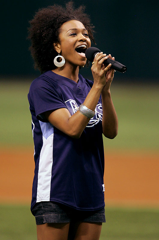 And Syesha Mercado, who got the boot this week, sang the National Anthem at last Friday's Angels-Rays game.