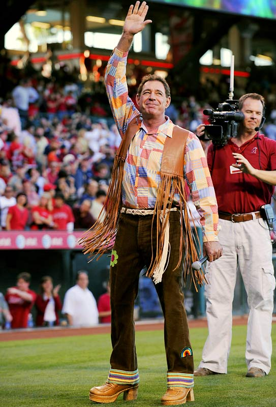 The Angels held '70s Night at the ballpark on Thursday and Greg Brady sang the National Anthem.