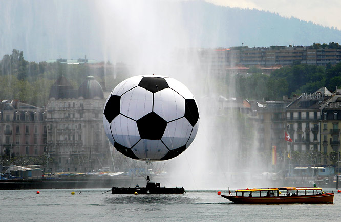 This photo, from Lac Leman in Geneva, Switzerland, shows you how pumped up the host city is for Euro 2008.