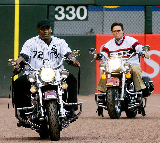 Bo Jackson (left) and Carlton Fisk made a grand entrance into U.S. Cellular Field before being honored by the White Sox on Thursday.