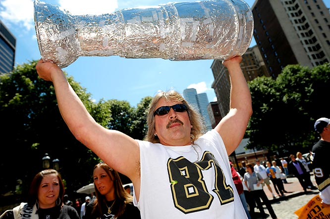 Whether the Penguins beat the Red Wings or not, this fan, shown at a pep rally for Pittsburgh on Friday, has his Stanley Cup.