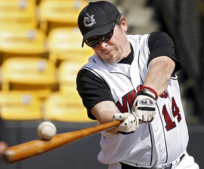 Former Calgary Flames captain Theoren Fleury took batting practice with the Calgary Vipers of Canada's Golden Baseball League on Tuesday. Fleury is in contract negotiations with the team.