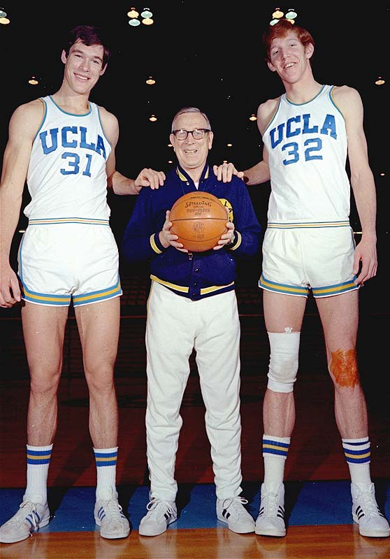 Bill Walton and Swen Nater flank Wooden in this 1972 photo. Legend has it that tucked away in Bill Walton's wallet is his personal recipe for life, which was modeled after his college coach.