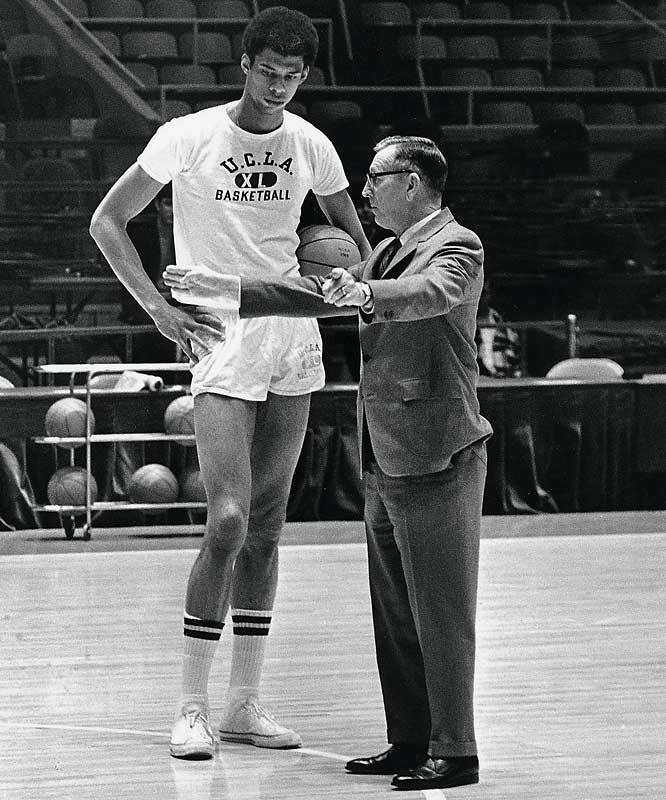 Wooden won seven straight national championships, including three when Lew Alcindor dropped by.