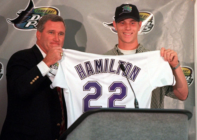 In the first-year player's draft, the Devil Rays select North Carolina prep star Josh Hamilton with the top pick. It is the first time since 1993, when Alex Rodriguez was selected, that a high school player has been chosen first.