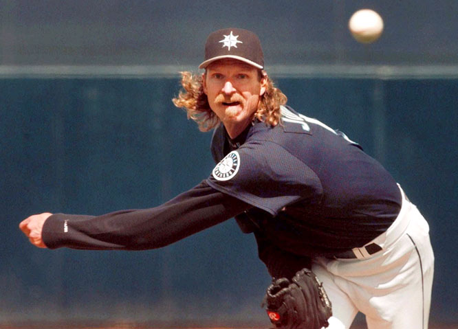 """Randy Johnson becomes the first Mariner to pitch a no-hitter as the """"Big Unit"""" shuts out the Tigers, 2-0. The southpaw strikes out eight while walking six in the first no-hitter ever thrown in the 14-year history of the Kingdome."""