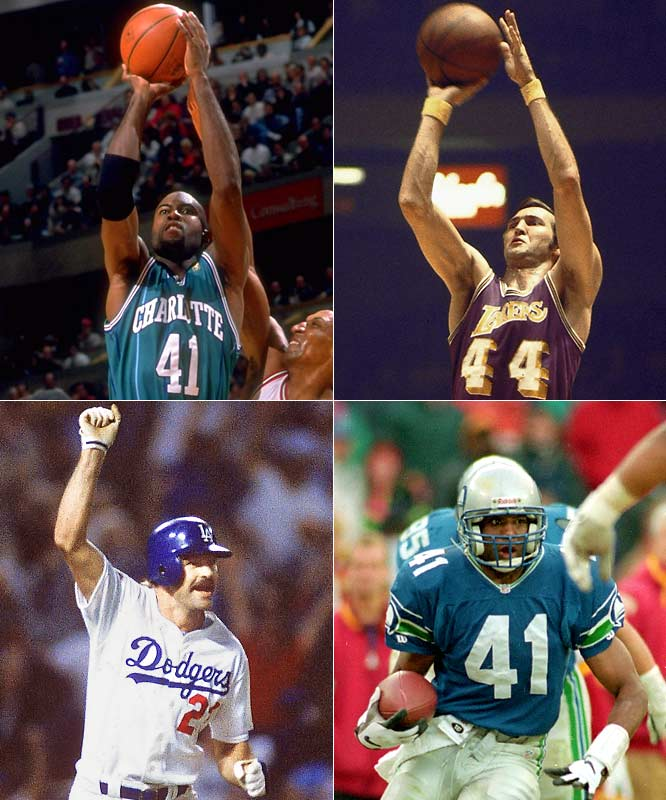 (Clockwise from left)<br><br>Glen Rice (1967)<br>Jerry West (1938)<br>Eugene Robinson (1963)<br>Kirk Gibson (1957)<br>