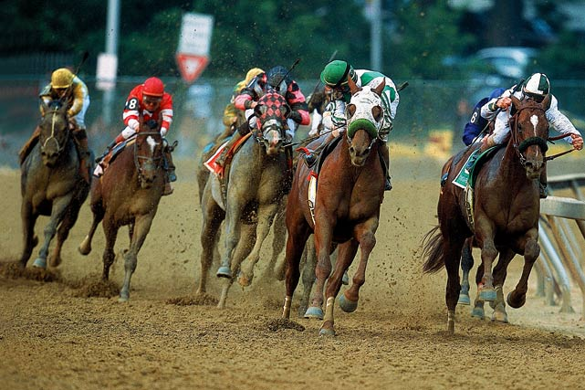 The 9-5 favorite (green) disappointed many -- including the second largest crowd ever to attend the Kentucky Derby (154,210) -- after finishing fifth. The winner, Monarchos (far left, yellow), moved up from as far back as 13th to capture the victory.